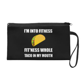 Fitness Taco In My Mouth Funny Wristlet Purse