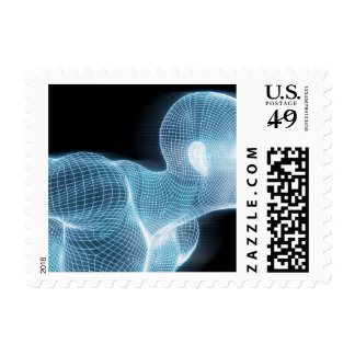 Fitness Technology Science Lifestyle as a Concept Postage Stamps