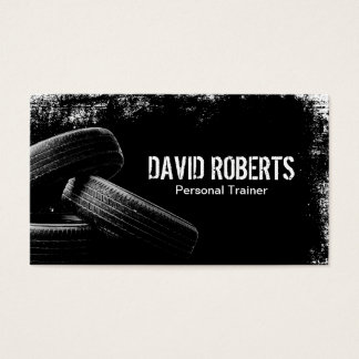 Fitness Tire Training Grunge Black Professional Business Card