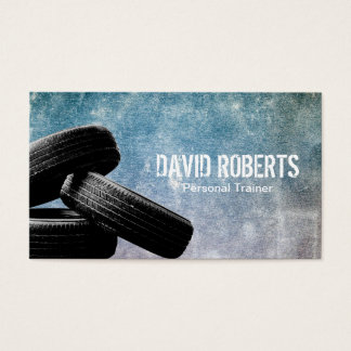Fitness Tire Training Personal Trainer Grunge Business Card