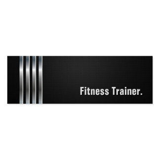 Fitness Trainer - Black Silver Stripes Business Card Template
