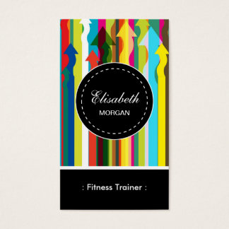 Fitness Trainer- Colorful Stripes Pattern Business Card