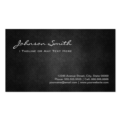 Fitness Trainer Cool Black Metal Simplicity Business Card Templates (back side)