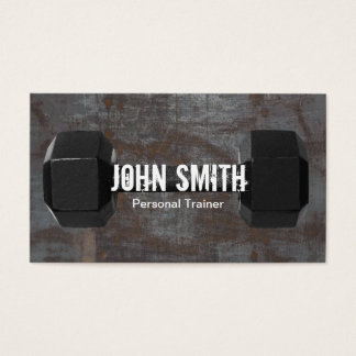 Fitness Trainer Dumbbell Rusty Metal Background Business Card