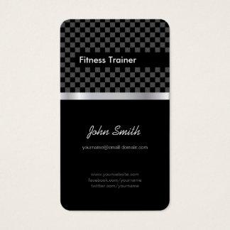 Fitness Trainer - Elegant Black Silver Squares Business Card