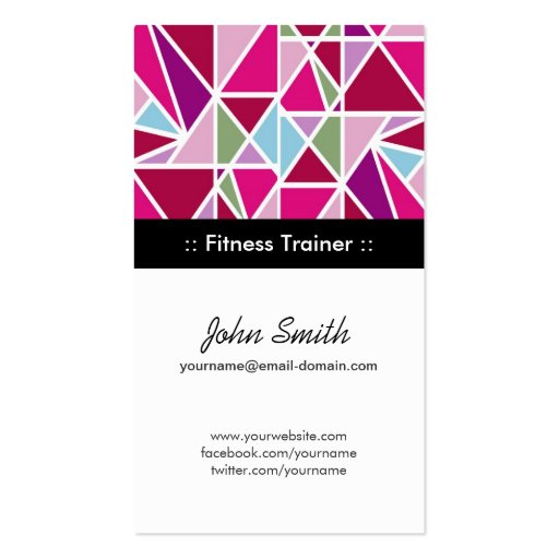 Fitness Trainer Pink Abstract Geometry Business Card Template