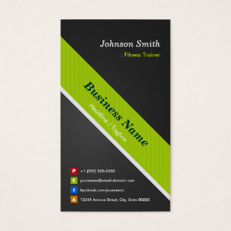 Fitness Trainer - Premium Black and Green Business Card