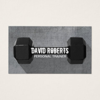 Fitness Trainer Professional Dumbbell Cool Metal Business Card