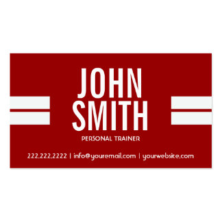 Fitness Trainer Red Sport Stripes Modern Business Card
