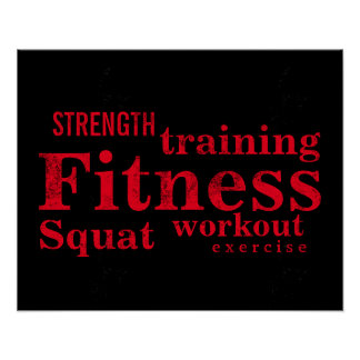 Fitness Training Cool Red Bold Texts GYM Workout Poster