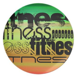 Fitness; Vibrant Green, Orange, & Yellow Melamine Plate