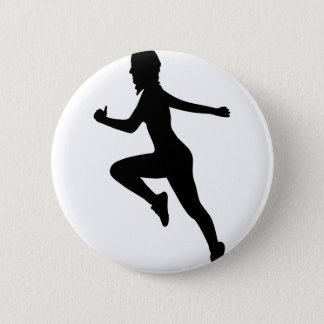 Fitness Woman Silhouette Pinback Button