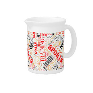 Fitness Word Cloud Red/Black ID284 Drink Pitcher