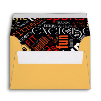 Fitness Word Cloud Red/White ID284 Envelope