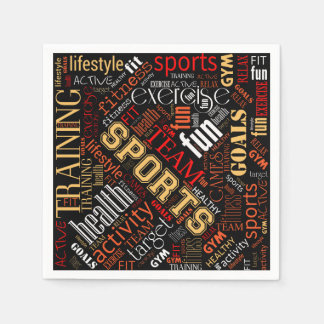Fitness Word Cloud Red/White ID284 Paper Napkin