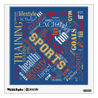Fitness Word Cloud Red/White ID284 Wall Sticker