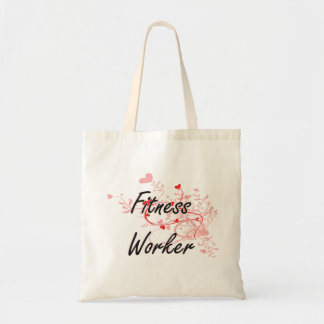Fitness Worker Artistic Job Design with Hearts Budget Tote Bag