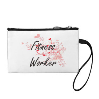 Fitness Worker Artistic Job Design with Hearts Coin Wallets