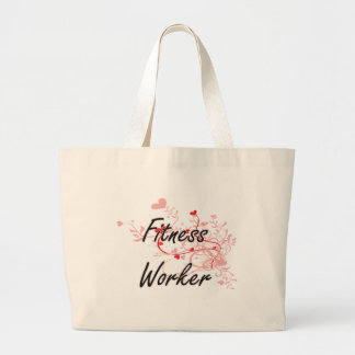 Fitness Worker Artistic Job Design with Hearts Jumbo Tote Bag