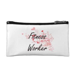 Fitness Worker Artistic Job Design with Hearts Makeup Bag