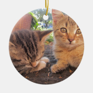 Fitsy and Jaga kitties Double-Sided Ceramic Round Christmas Ornament