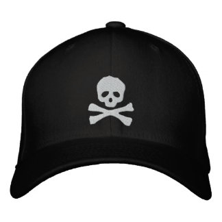 Fitted Skull and Crossbones Pirate Embroidered Hat