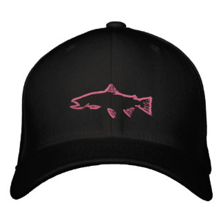Fitted Trout Tracker Hat - Black Embroidered Baseball Cap