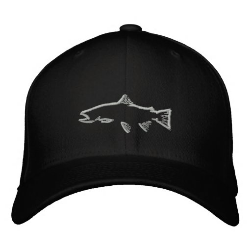 Fitted Trout Tracker Hat - Black Embroidered Hats