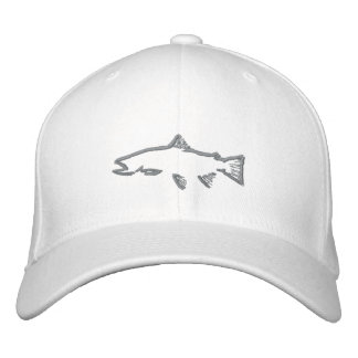 Fitted Trout Tracker Hat - White Baseball Cap