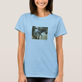 FittedT-Camisa de las señoras de la cebra Playera