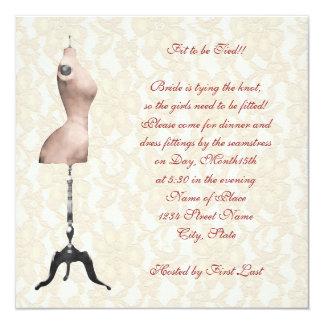 Fitting Bridal Shower 5.25x5.25 Square Paper Invitation Card