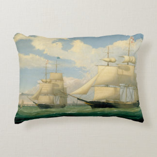 "Fitz Henry Lane - The Ships ""Winged Arrow"" Decorative Pillow"
