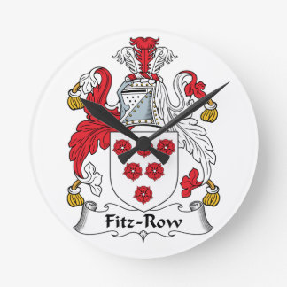 Fitz-Row Family Crest Round Wall Clock
