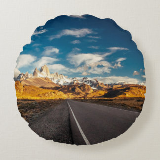 Fitz Roy In Morning Light Round Pillow