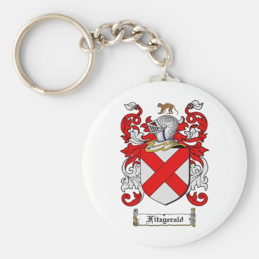 FITZGERALD FAMILY CREST -  FITZGERALD COAT OF ARMS BASIC ROUND BUTTON KEYCHAIN