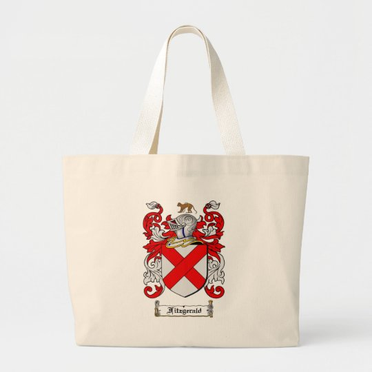 FITZGERALD FAMILY CREST -  FITZGERALD COAT OF ARMS LARGE TOTE BAG