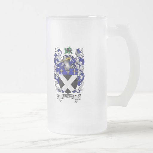 FITZPATRICK FAMILY CREST -  FITZPATRICK CREST FROSTED GLASS BEER MUG