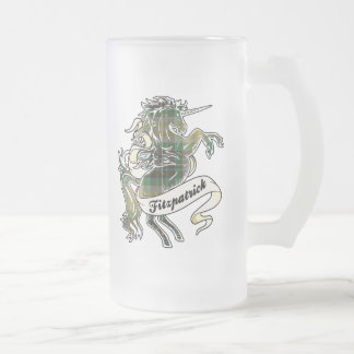 Fitzpatrick Tartan Unicorn Frosted Glass Beer Mug