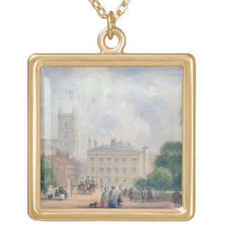 Fitzroy Square, London (oil on panel) Gold Plated Necklace