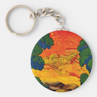 Fiuggi Italy Vintage Travel Advertisement Art Keychain