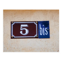 Five 5 Bis - French Numbers Sign Postcard