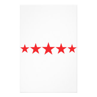 five 5 red stars deluxe stationery