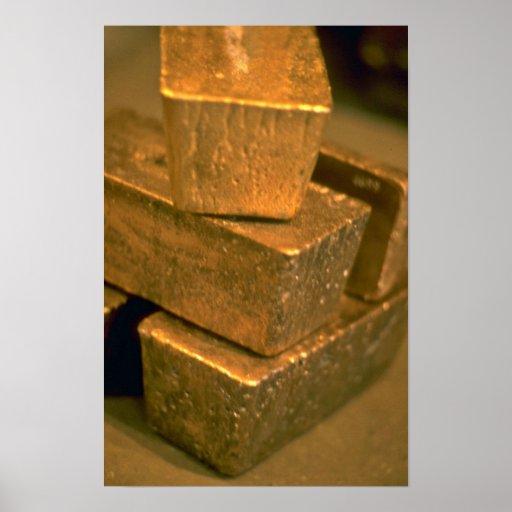Five 90 pound gold bricks print