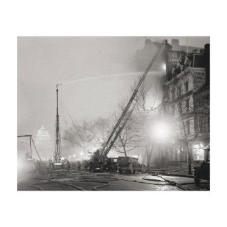 Five Alarm Fire at Night, 1925 Canvas Print
