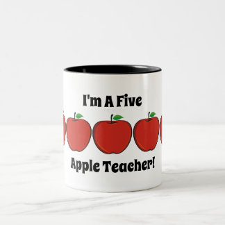 Five Apple Teacher Mug