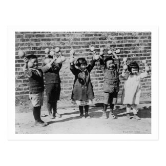 Five Asian Children holding up Barbells Postcard