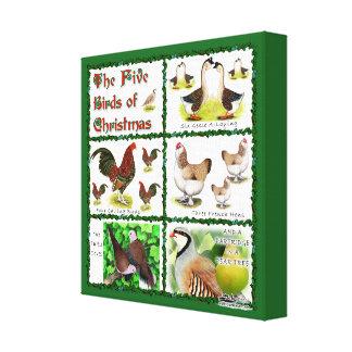 Five Birds of Christmas Canvas Print