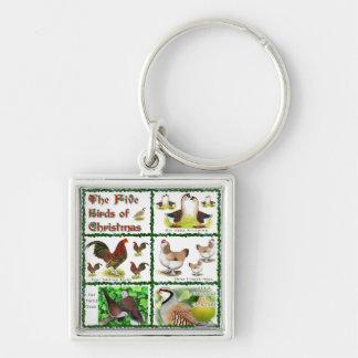 Five Birds of Christmas Keychain