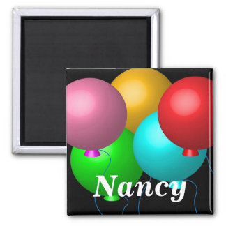 Five Birthday Balloons 2 Inch Square Magnet