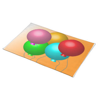 Five Birthday Balloons Cloth Placemat